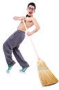 Funny man with broom on white Royalty Free Stock Image