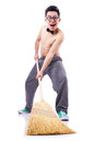 Funny man with broom on white Stock Photos