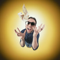 Funny man catch money from above screaming with sun glasses on circle background Stock Photos