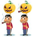 Funny man with cigar holds the Halloween pumpkin on the pole. Royalty Free Stock Photo