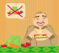 Funny man eating hamburger illustration Royalty Free Stock Photo