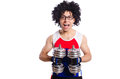 Funny man exercising with dumbbells Royalty Free Stock Photo