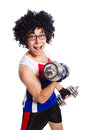 Funny man exercising with dumbbells Royalty Free Stock Image