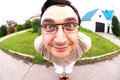 Funny man face in fisheye view Royalty Free Stock Photo