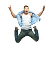 Funny man jumping in blue shirt and jeans Stock Photos