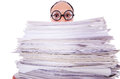 Funny man with lots of folders on white Stock Images