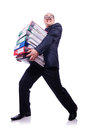 Funny man with lots of folders on white Stock Image
