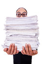 Funny man with lots of folders on white Royalty Free Stock Images