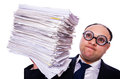 Funny man with lots of folders on white Royalty Free Stock Image