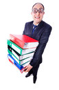 Funny man with lots of folders on white Royalty Free Stock Photo