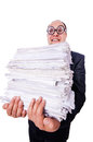 Funny man with lots of folders on white Royalty Free Stock Photos