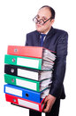 Funny man with lots of folders on white Royalty Free Stock Photography