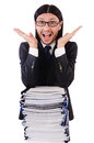Funny man with lots of papers on white Stock Photos