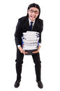 Funny man with lots of papers on white Stock Photo