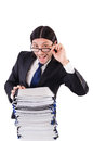 Funny man with lots of papers on white Royalty Free Stock Image