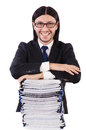 Funny man with lots of papers on white Stock Image
