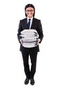 Funny man with lots of papers on white Royalty Free Stock Photography