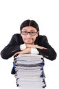 Funny man with lots of papers on white Royalty Free Stock Images
