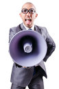 Funny man with loudspeaker on white Stock Photography
