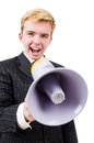 Funny man with loudspeaker on white Royalty Free Stock Photo