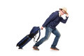Funny man with luggage wearing safari hat Stock Photo