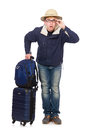 Funny man with luggage wearing safari hat Royalty Free Stock Photography