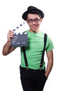 Funny man with movie board Royalty Free Stock Photo