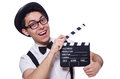 Funny man with movie board Royalty Free Stock Photos