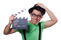 Funny man with movie board Stock Image
