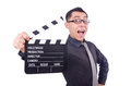 Funny man with movie clapper Stock Photo