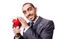 Funny man with piggybank on white Royalty Free Stock Photo