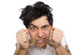 The funny man suffering from mental disorder Stock Photo