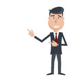 Funny man in suit and tie  gesturing with his hands. Royalty Free Stock Photo