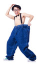 Funny man with trousers isolated on white Royalty Free Stock Images