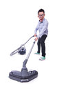 Funny man with vacuum cleaner on white Royalty Free Stock Image