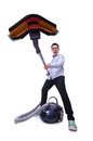 Funny man with vacuum cleaner on white Stock Images