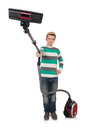 Funny man with vacuum cleaner on white Stock Image