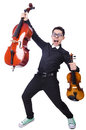 Funny man with violin on white Royalty Free Stock Photo