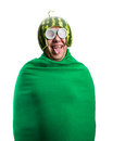 Funny man with watermelon helmet and googles looks like a parasitic caterpillar isolated on white Royalty Free Stock Image