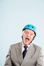 Funny man wearing cycling helmet portrait real people high defin Royalty Free Stock Photo