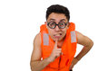 The funny man wearing orange safety vest Royalty Free Stock Photo