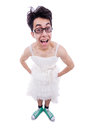 Funny man wearing in woman dress Royalty Free Stock Photo