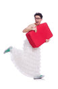 Funny man wearing in woman dress preparing on vacation isolated on white Stock Images