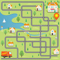 Funny Maze Game: Delivery Driver Find the Hotel in this Small City Royalty Free Stock Photo