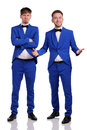 Funny men dressed in blue suite with different emotions Royalty Free Stock Photos