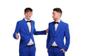 Funny men dressed in blue suite with different emotions Royalty Free Stock Photo