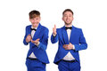 Funny men dressed in blue suite with different emotions Stock Photo