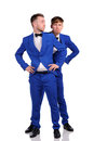 Funny men dressed in blue suite with different emotions Stock Photography