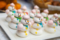 Funny meringue Snowman for Christmas parties fun cake