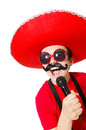 Funny mexican with mic isolated on the white Stock Image